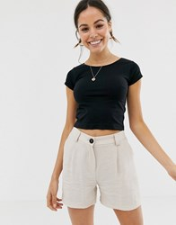Free People Cap Sleeve Crop T Shirt Black