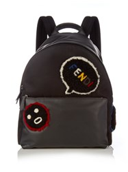 Fendi Faces Shearling Applique Leather Backpack Black Multi