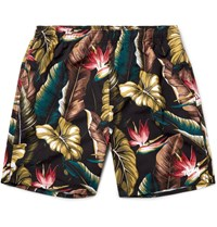 Stussy Slim Fit Long Length Printed Swim Shorts Black