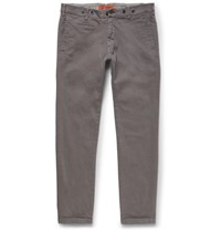Barena Slim Fit Stretch Cotton Twill Trousers Gray