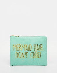 Asos Mermaid Slogan Make Up Bag Blue