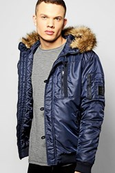 Boohoo Multi Zip Faux Fur Hooded Parka Navy