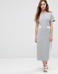 Shades Of Grey Belted Striped Midi Dress White Stripe Grey