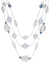 Styleandco. Style And Co. Silver Tone Ice Blue Bead Illusion Necklace
