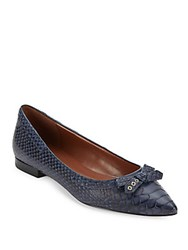 Cole Haan Alice Bow Skimmer Embossed Ballet Flats Marine Blue