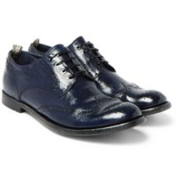 Officine Creative Anatomia Polished Leather Wingtip Brogues Navy