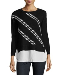 Neiman Marcus 3 4 Sleeve Chiffon Trim Sweater Black White