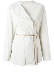 Fabiana Filippi Asymmetric Belted Blouse Nude Neutrals