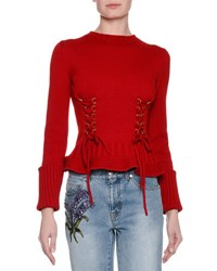 Alexander Mcqueen Knit Lace Up Sweater Red