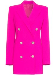 Attico Double Breasted Long Line Blazer Pink