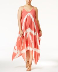 Raviya Plus Size Tie Dye Handkerchief Hem Cover Up Dress Women's Swimsuit Coral