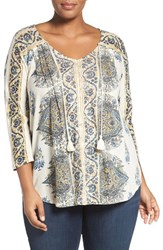 Lucky Brand Plus Size Women's Placed Print V Neck Top