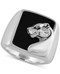 Effy Collection Gento By Effy Men's Onyx 7 9 10 Ct.T.W. Panther Head Ring In Sterling Silver Black