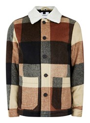 Topman Red Rust Check Faux Shearling Collar Shacket