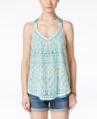 Jolt Juniors' Crocheted Tank Top Tide Pool Turquoise