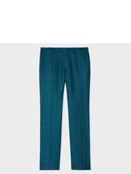 Paul Smith Men's Slim Fit Teal Linen And Silk Blend Check Trousers Blue