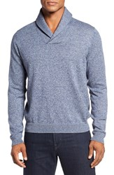 Nordstrom Men's Big And Tall Men's Shop Cotton And Cashmere Shawl Collar Sweater Blue Estate Jaspe