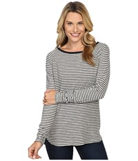 Jag Jeans Brier Stripe Tee Classic Fit Shirt Striped Jersey Heather Grey White Women's T Shirt Gray