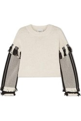 3.1 Phillip Lim Cropped Fringed Cotton Blend Sweater Ecru