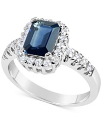 Macy's Sapphire 1 3 4 Ct. T.W. And Diamond 1 3 Ct. T.W. Ring In 14K White Gold Blue