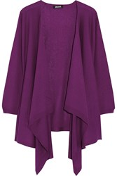 Dkny Draped Silk And Cashmere Blend Cardigan Purple