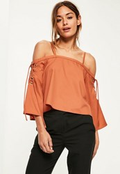 Missguided Orange Eyelet Detail Lace Up Sleeve Bardot Blouse Burnt Orange