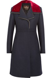 Roberto Cavalli Velvet Trimmed Stretch Wool Blend Twill Coat Navy