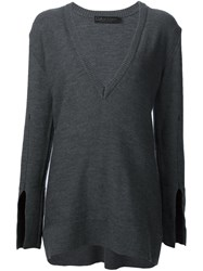 Calvin Klein Collection Longsleeved V Neck Knitted Blouse Grey