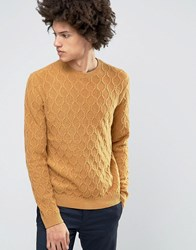 Asos Lambswool Rich Cable Jumper In Mustard Mustard Yellow