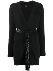 Pinko Sequin Panel Cardigan Black