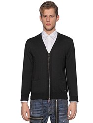 Dsquared Zip Up Wool Knit Cardigan
