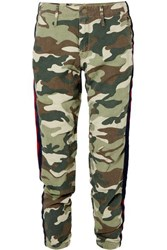 Mother No Zip Misfit Striped Camouflage Print Cotton Blend Track Pants Army Green