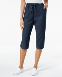 Karen Scott Petite Cotton Drawstring Capri Pants Only At Macy's Intrepid Blue