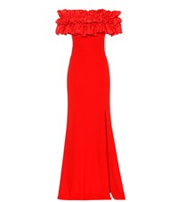 Alexander Mcqueen Crepe Off The Shoulder Gown Red