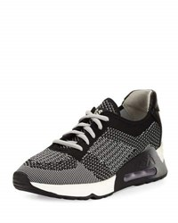 Ash Lucky Leather Trim Knit Sneaker Gray Pattern