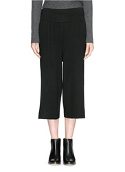 Victor Alfaro Jersey Waistband Rib Knit Wool Pants Black