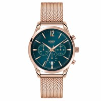 Henry London 39Mm Unisex Stratford Chronograph Watch Green Rose Gold