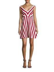 Red Valentino Striped Cotton And Silk A Line Dress Amarena