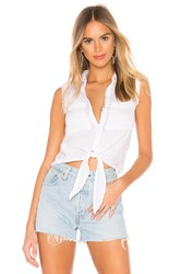 Bella Dahl Frayed Tie Up Button Down Blouse White