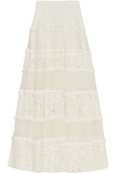 Alexis Emil Corded Lace And Silk Organza Maxi Skirt White