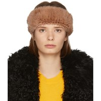 Yves Salomon Orange Knitted Mink Headband