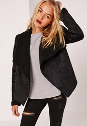 Missguided Faux Shearling Waterfall Jacket Black Black