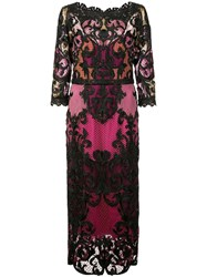 Marchesa Notte 3 4 Sleeve Colour Block Dress Pink And Purple