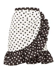 Rodarte Ruffled Polka Dot Skirt White Black