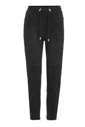 Balmain Suede Sweatpants Black