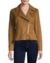 Cusp By Neiman Marcus Faux Suede Motorcycle Jacket Whiskey