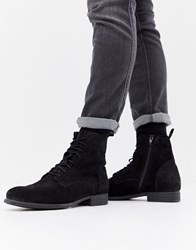 Pier One Lace Up Boots In Black Suede