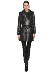 Saint Laurent Double Breast Nappa Leather Trench Coat Black