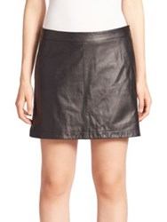 Joie Mayfair Leather Mini Skirt Caviar