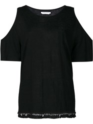 Derek Lam 10 Crosby Cut Off Sleeves Blouse Black